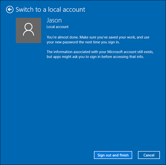 succeed to switch to local account
