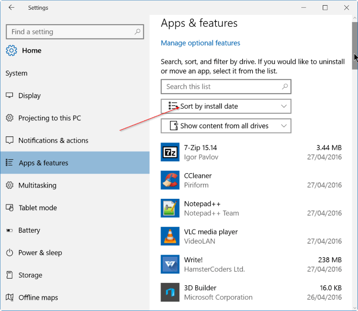 uninstall recently installed software