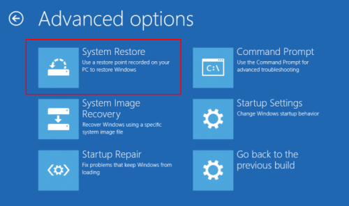 Restore system in Windows 10