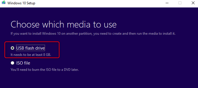 Bootable media USB drive in Windows 10