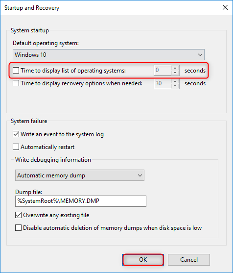 disable boot manager windows 10