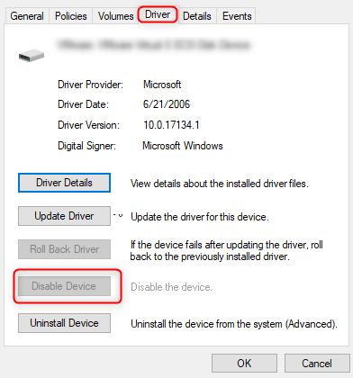 disable SD device to solve sd card reader not working