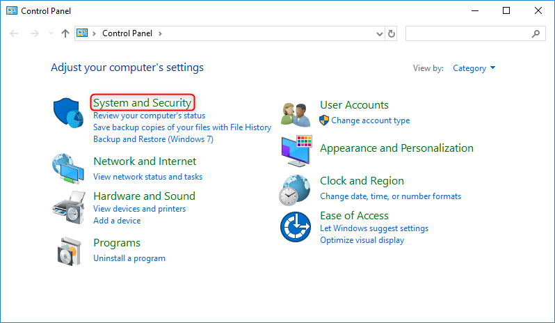 select system and security in windows control panel
