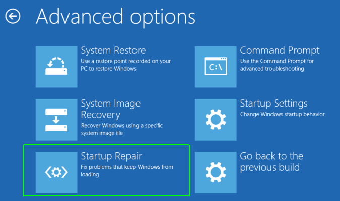 startup repair in Windows
