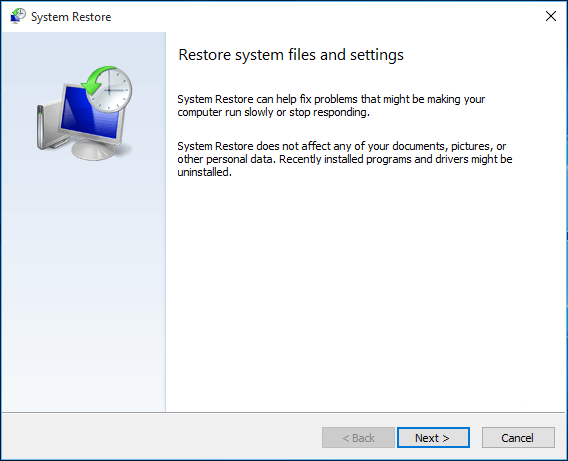 get into system restore settings
