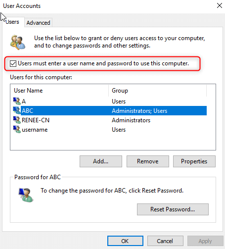 disable auto login windows 10 without password