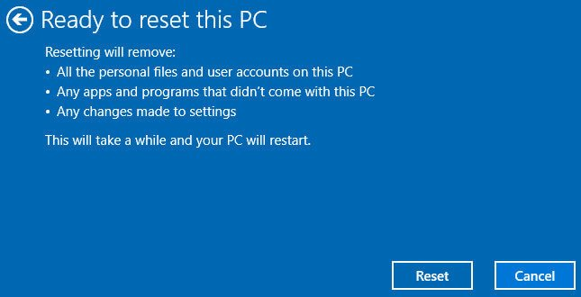 confirm to reset this PC