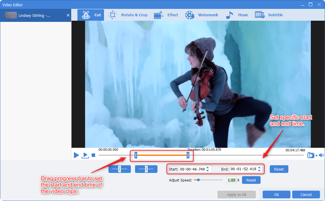 cut video clips in renee video editor pro