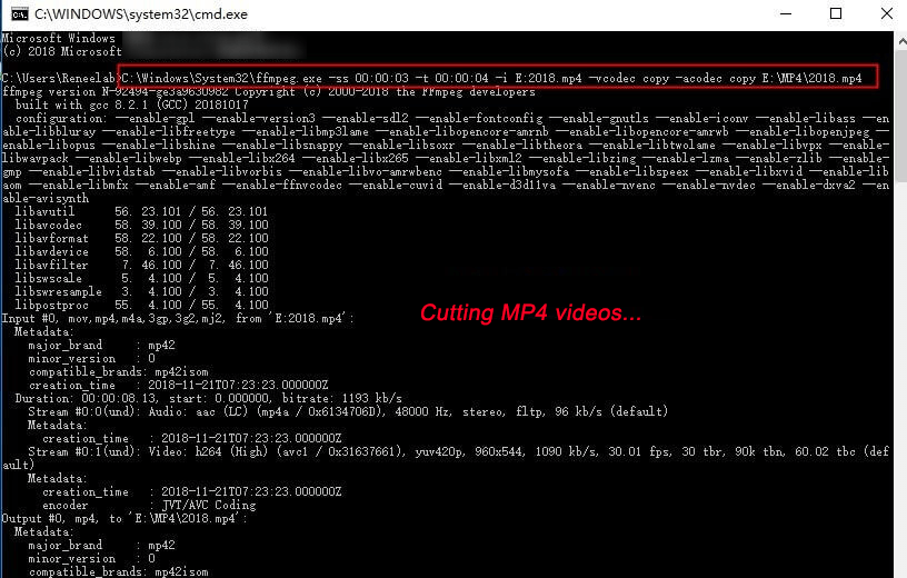 how to cut mp4 video with ffmpeg
