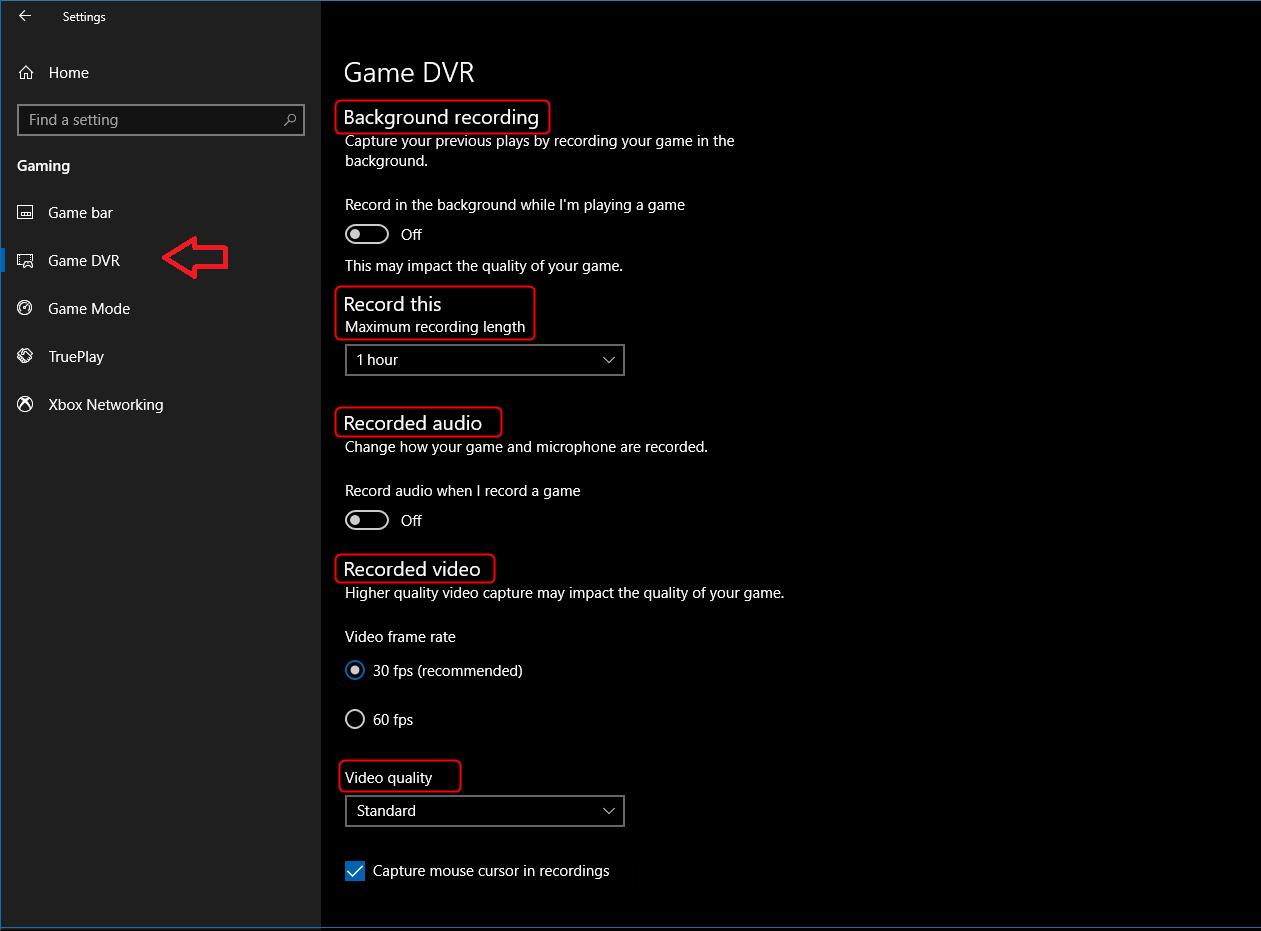 game dvr settings