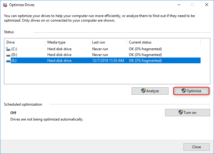 optimize drives on Windows 10