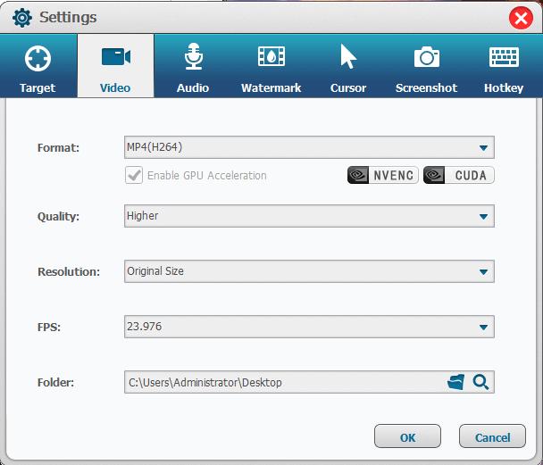 Renee video editor prorecording settings