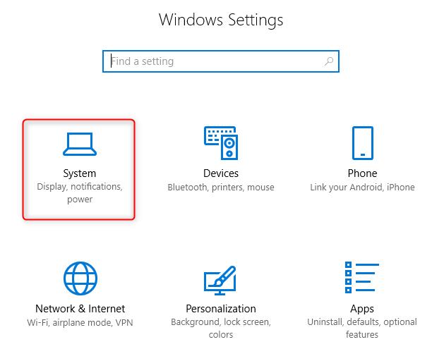 open Windows 10 system settings
