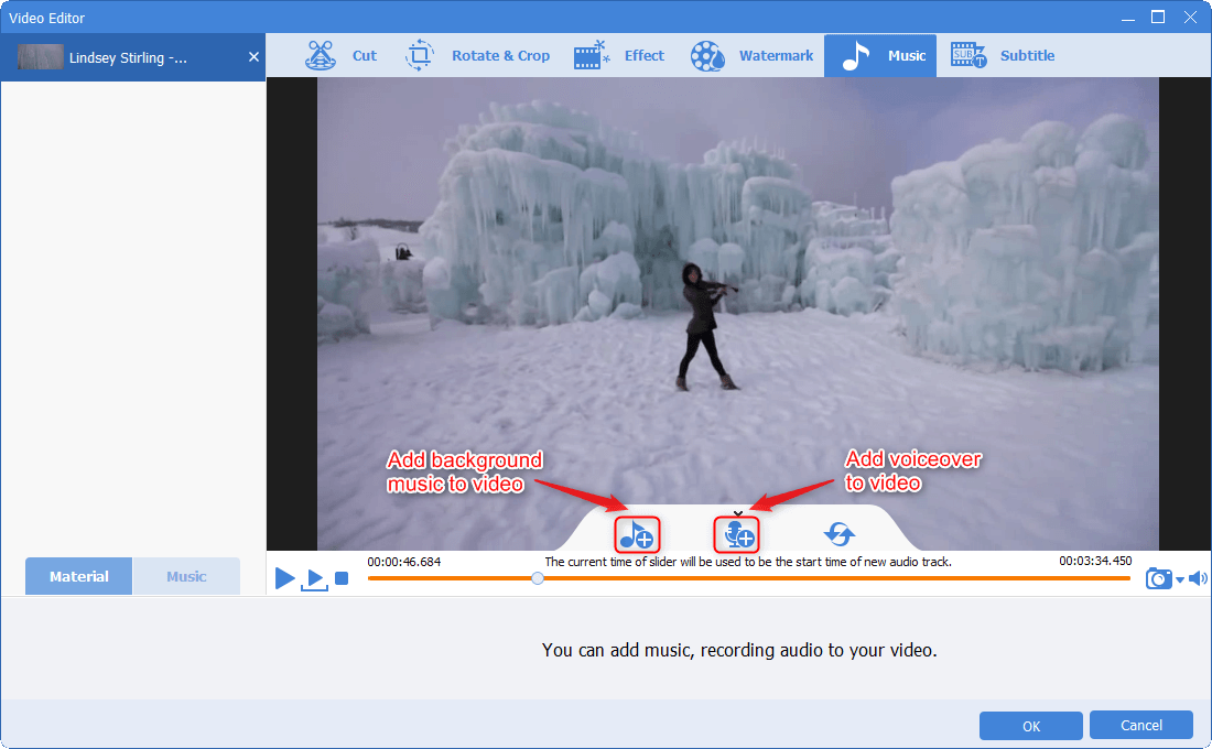 music funtion in Renee Video Editor Pro