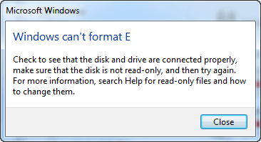 windows can not fomat usb flash drive