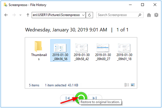 Restore files for SSD