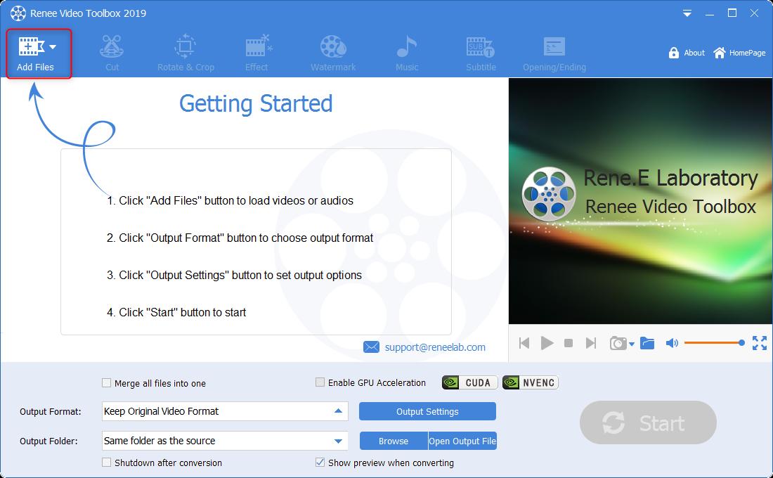 add files in renee video pro