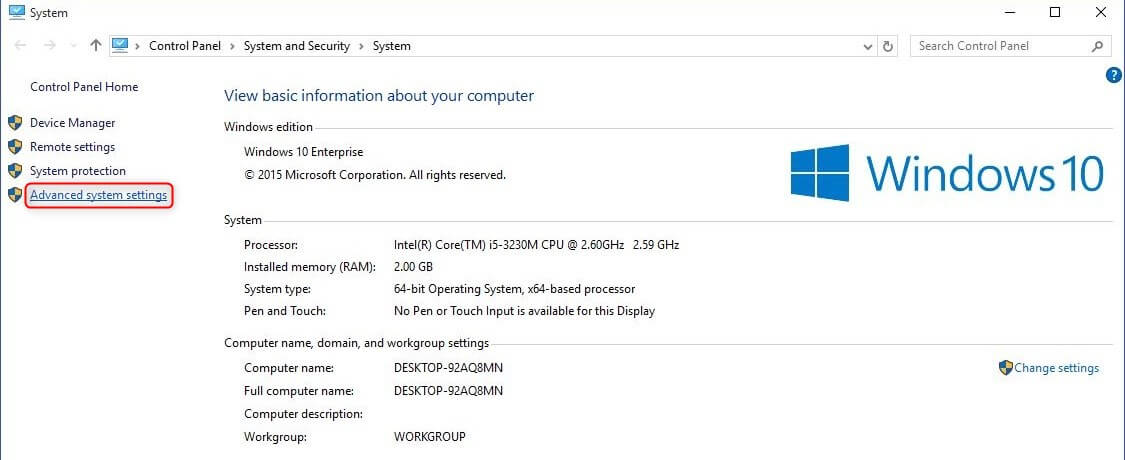 advance system settings in Windows 10