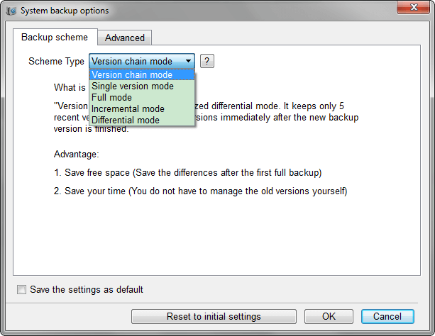 set the specific backup schemes
