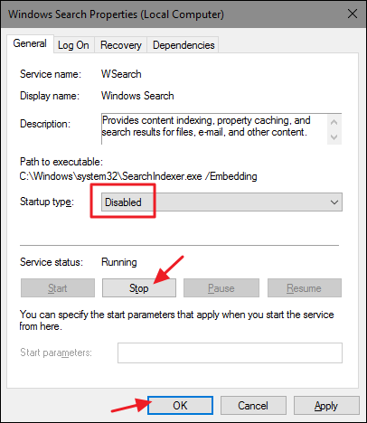 disable windows search in services