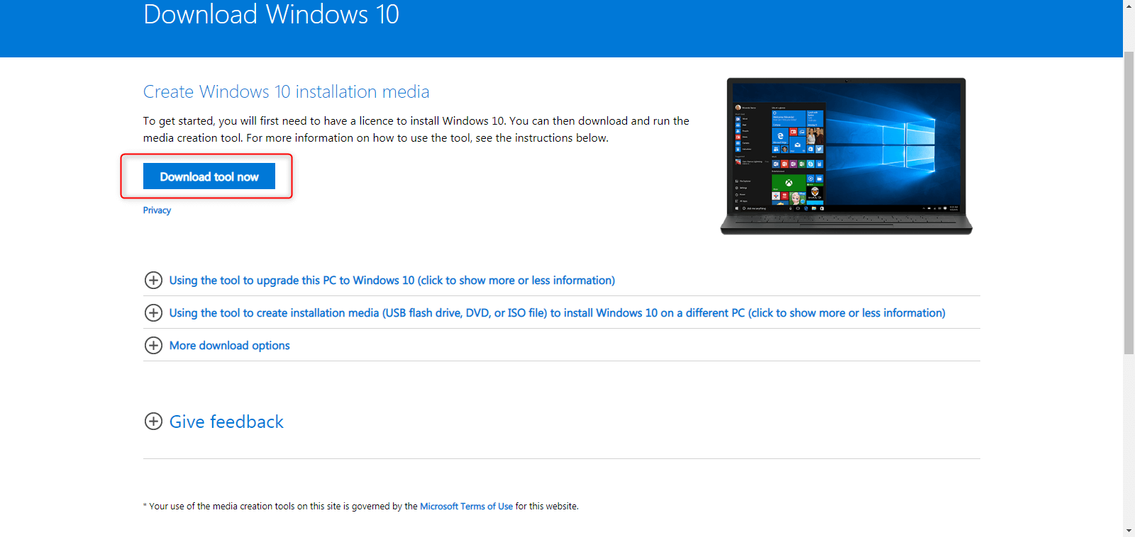 download Windows 10 installation media tool