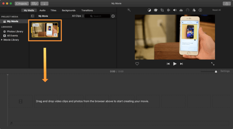 iMovie Video Loaded