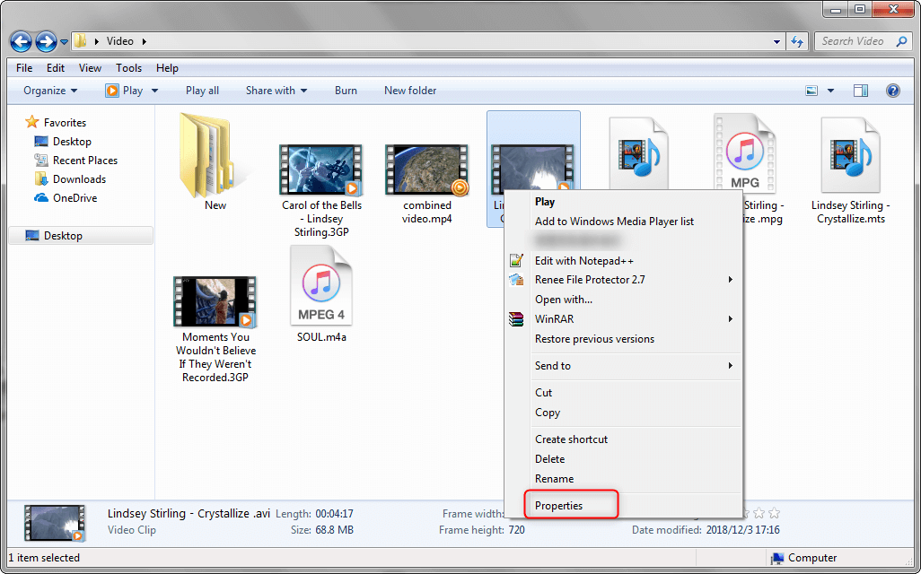 check the video properties in your pc
