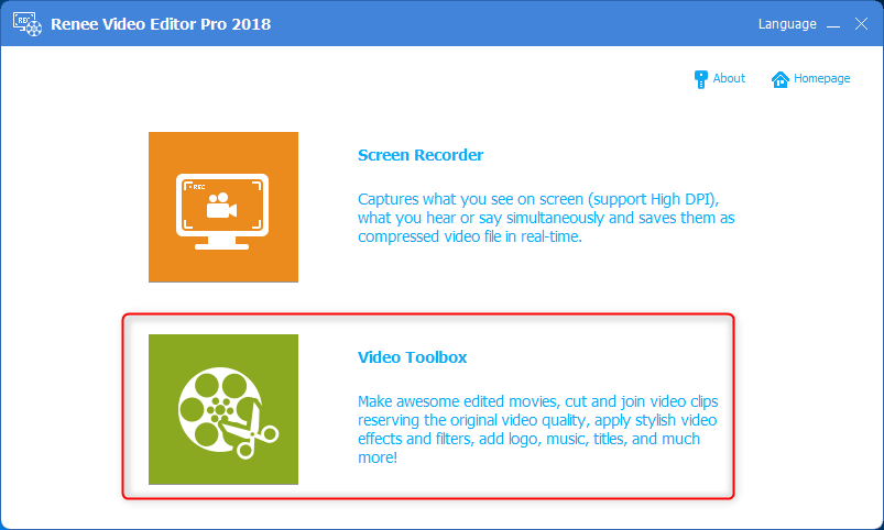 click video toolbox in renee video editor pro