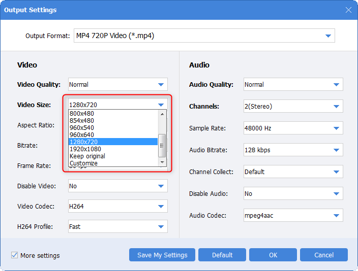 select video size in output settings