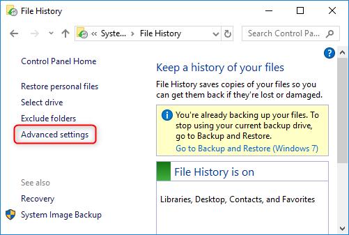 File History - Advanced settings