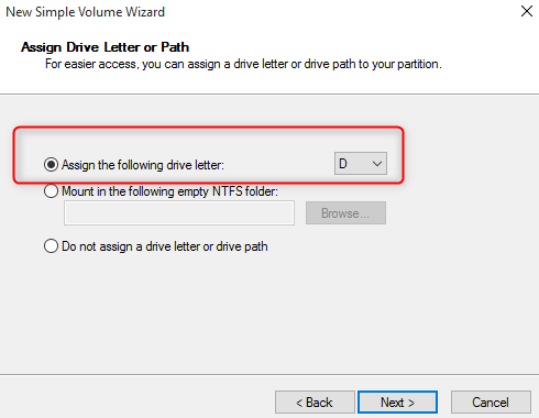 assign drive number for partition