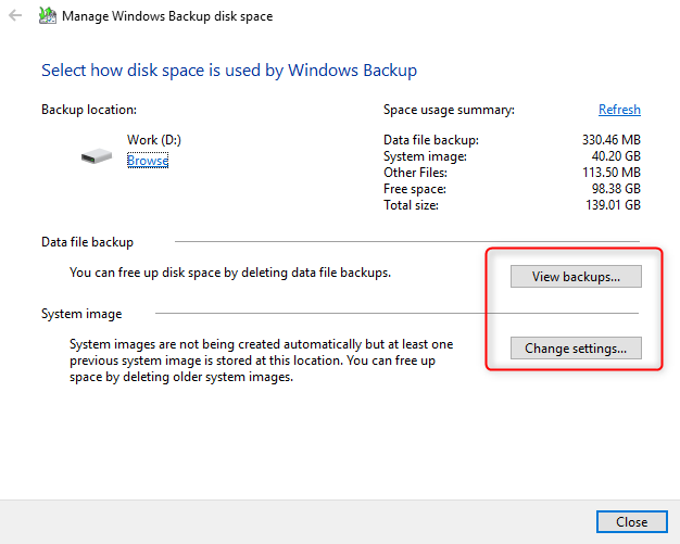 Manage Windows Backup disk space