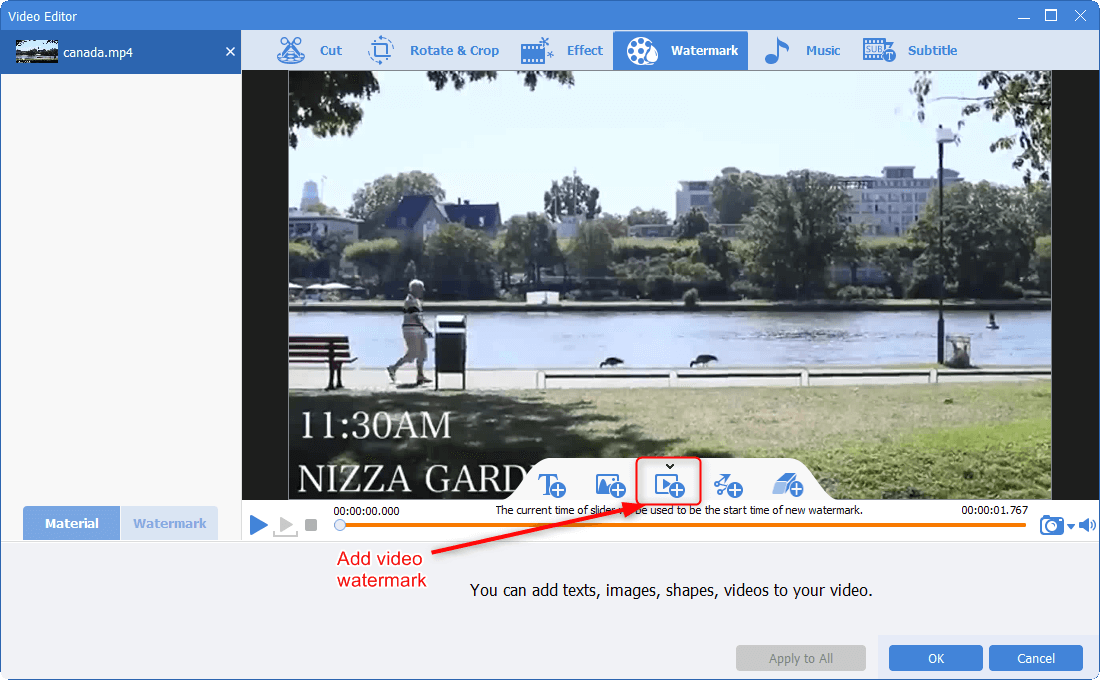 add video as the watermark in renee video editor pro
