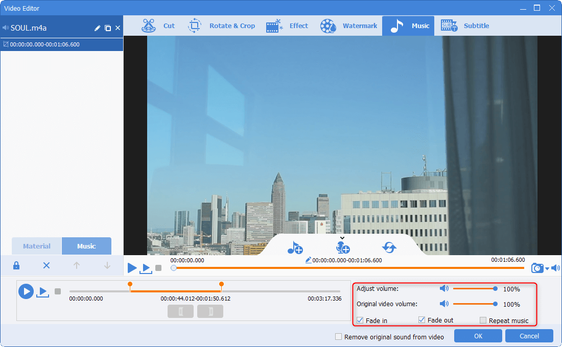 adjust the effect of the background music in renee video editor pro