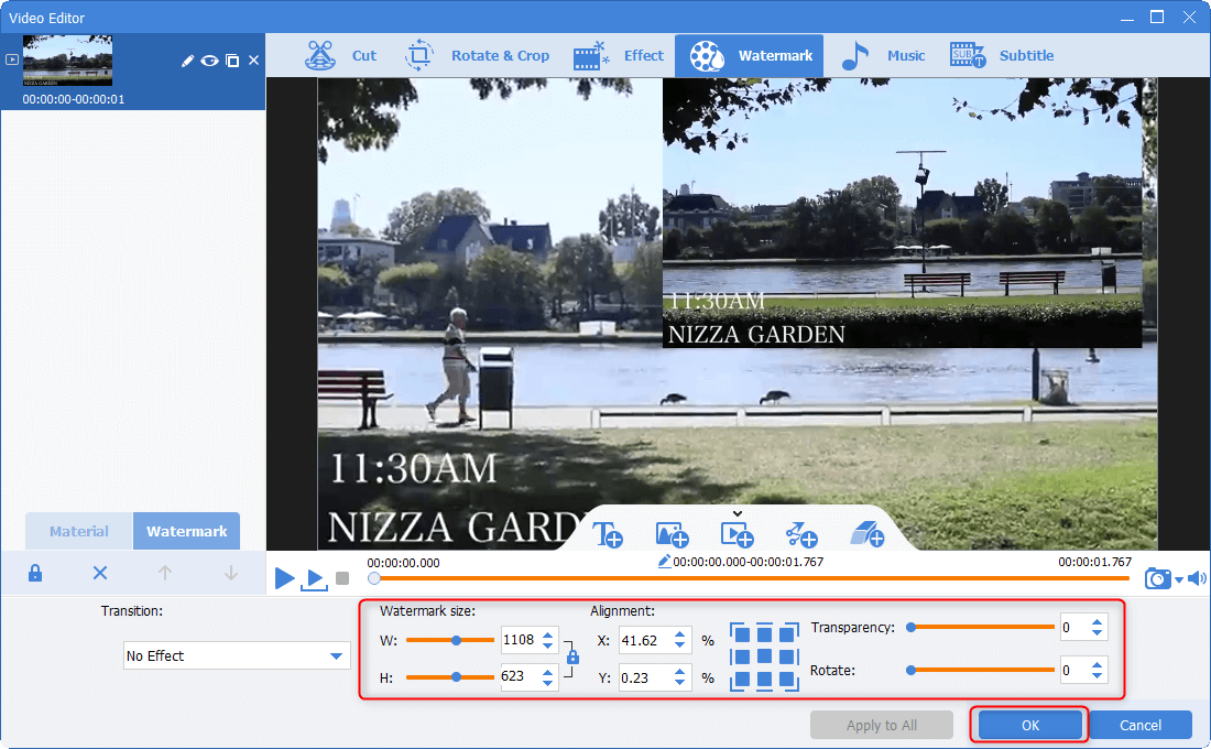 adjust video watermark positiion