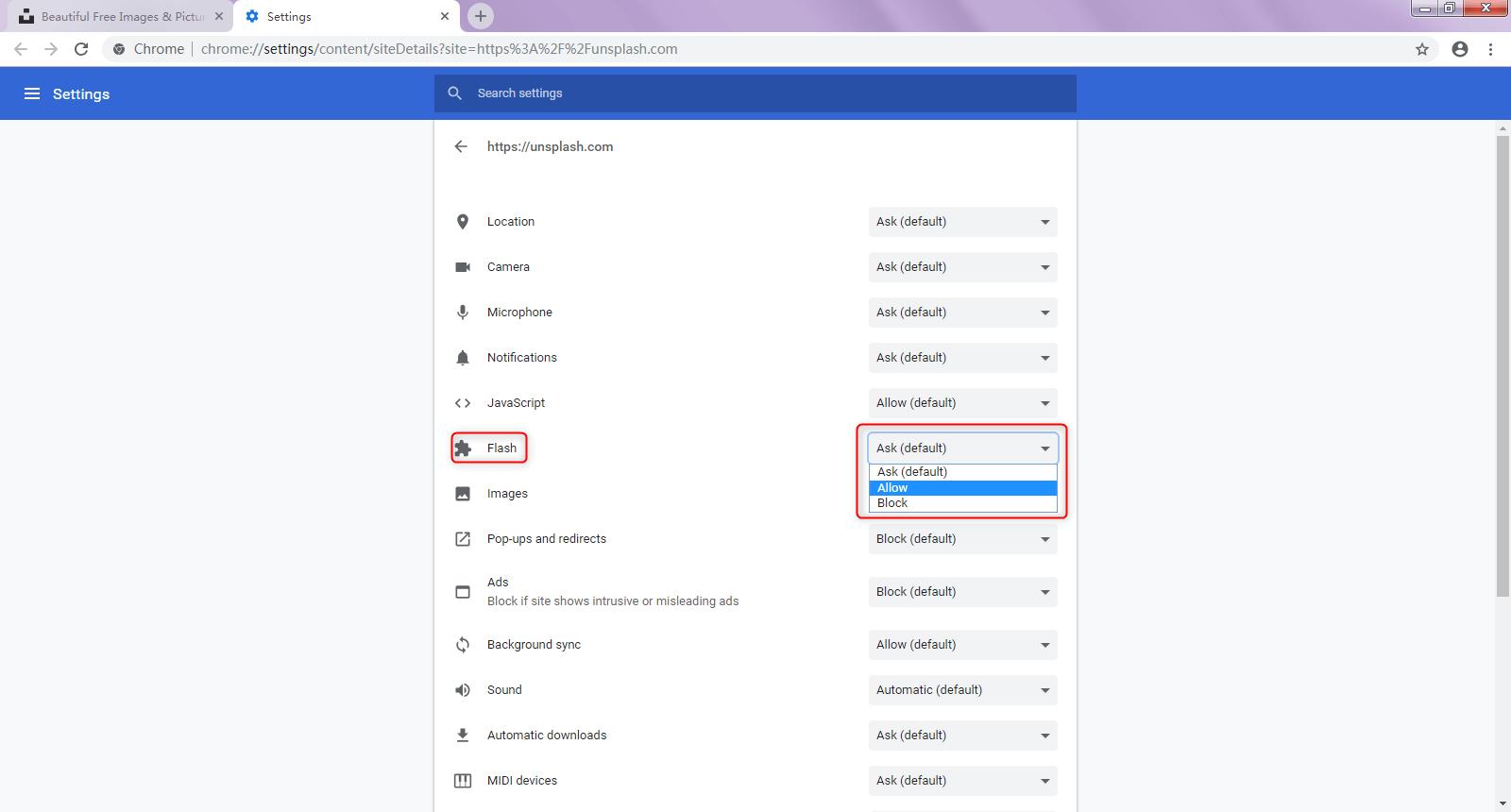allow flash google chrome