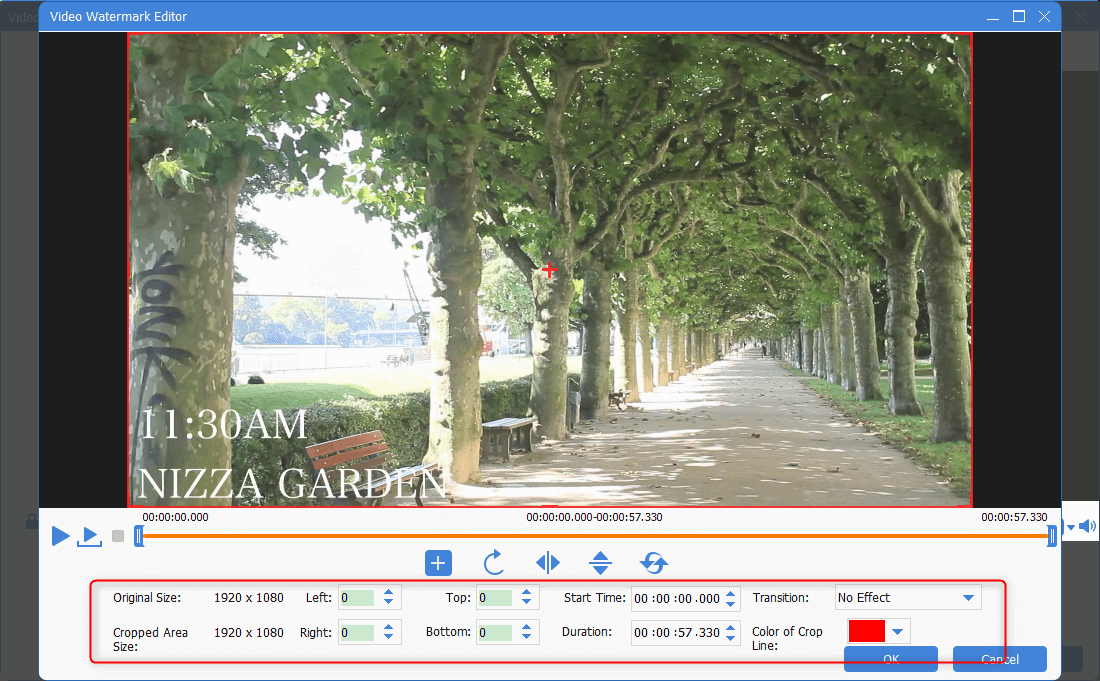 select some parts as the video watermark in renee video editor pro