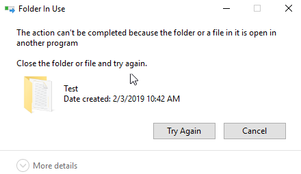 Can't delete files or folder in use