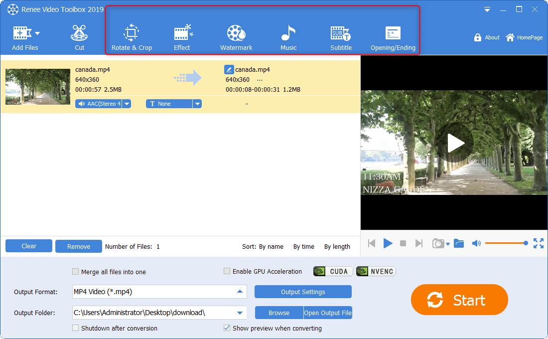 video functions in renee video editor pro