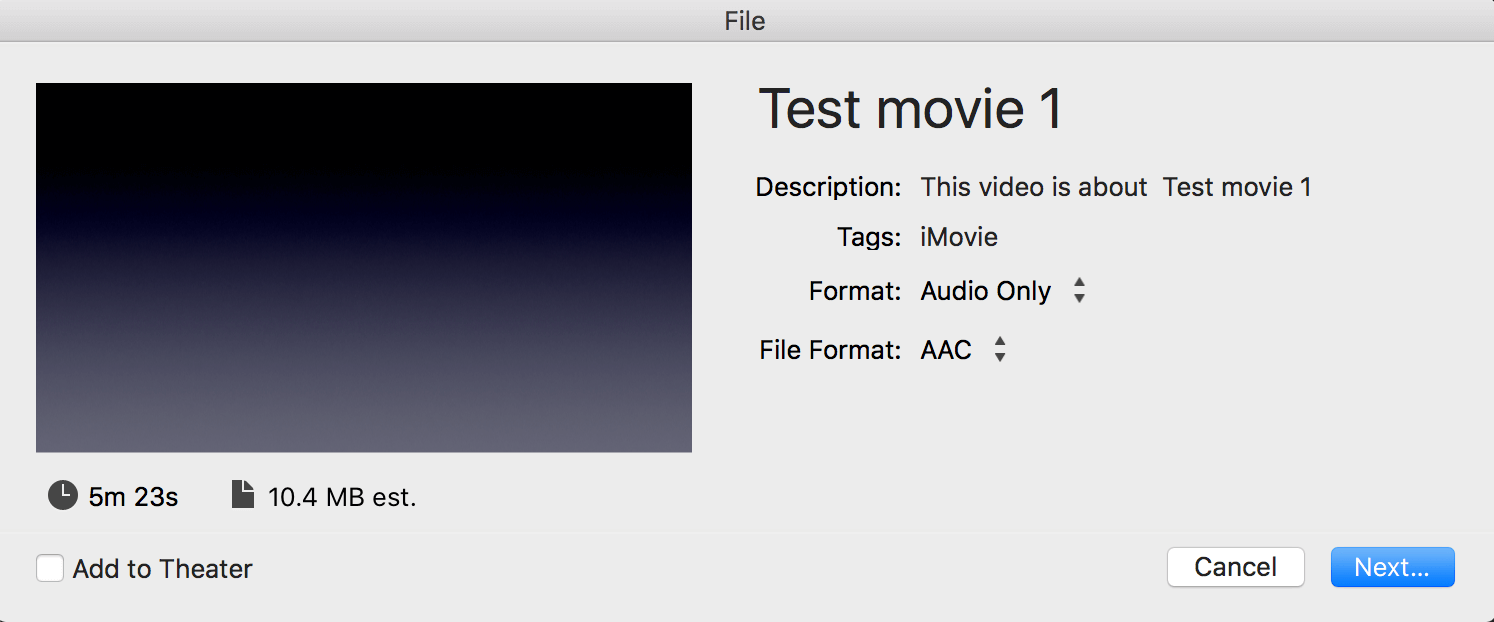 imovie save audio only