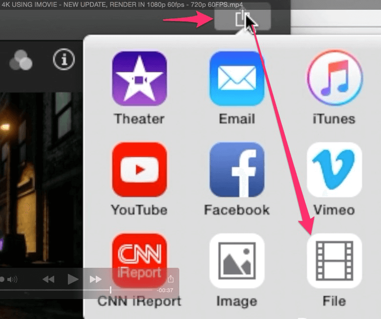 share project file in imovie