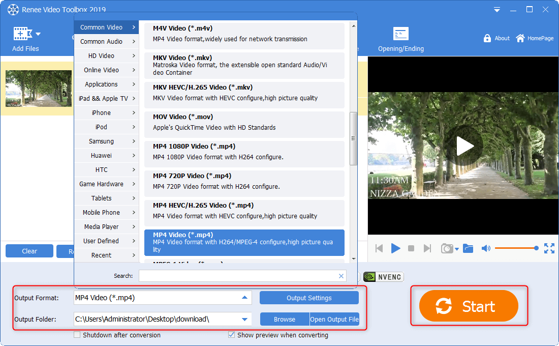 output MP4 video and save