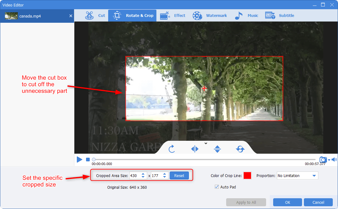 crop the video screen area by dragging the box