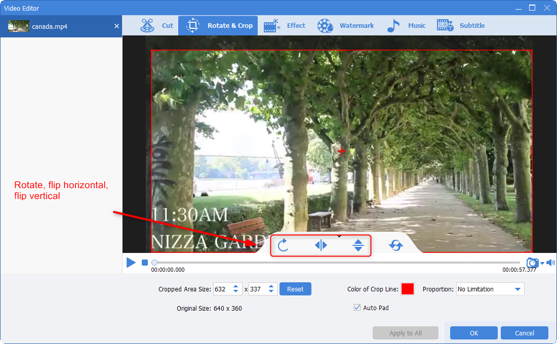rotate and flip video screen in renee video editor pro