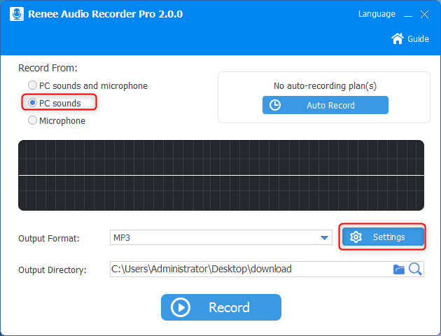 set audio pc sounds and set record quality in renee audio recorder pro