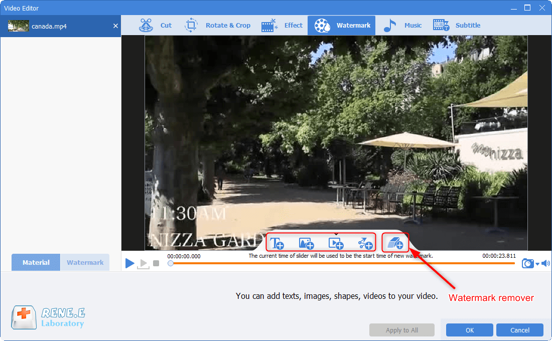 use watermark and watermark remover in renee video editor pro