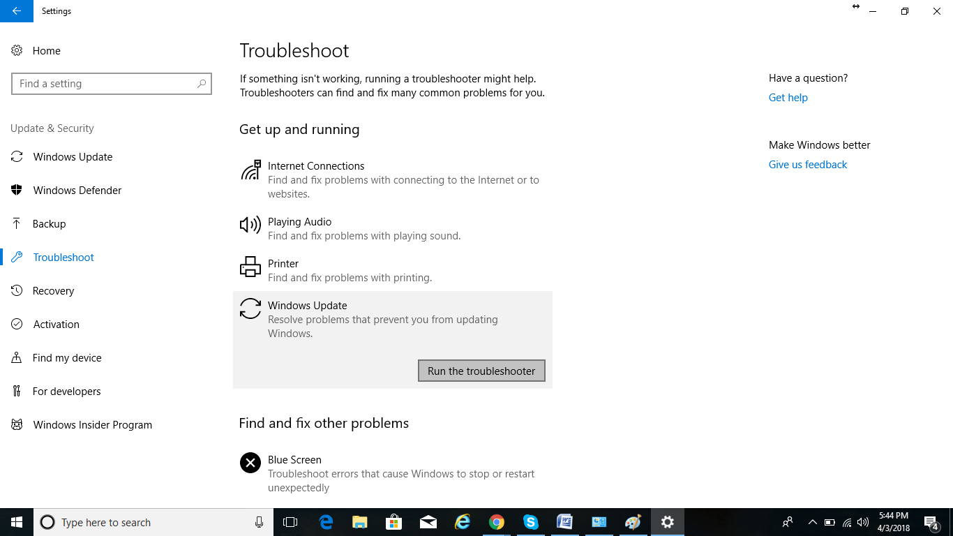 troubleshoot in windows settings