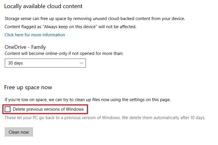 delete previous version of Windows
