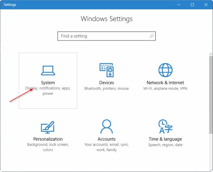 click System in Windows Settings