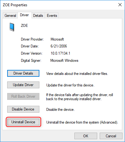 check to uninstall usb driver